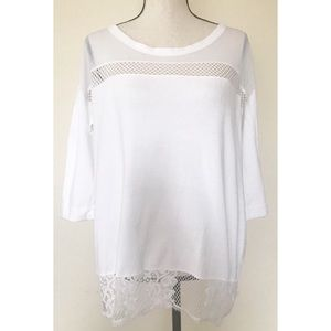 French Connection | White Lace Hem Causal Top